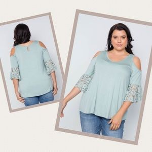 Light Green Cold Shoulder Swing Top Plus Size 1X
